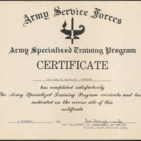 Certificate: Army Specialized Training Program