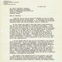 Letter from John C. Johnson, Ordnance Research Laboratory