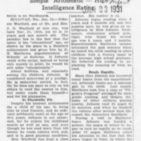 1931 Newspaper Story About Young Warfield