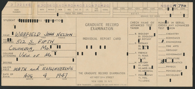 Graduate Record Examination Test Results