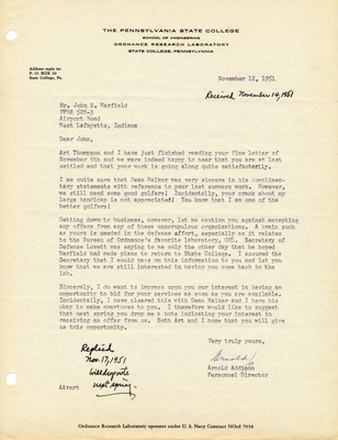 Recruiting Letter from Ordnance Research Laboratory